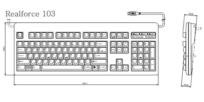 Topre realforce keyboard and realforce keypad products for Dimensions of a piano