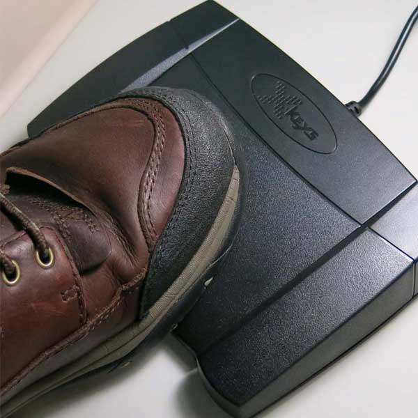 X-Keys Programmable Foot Pedal in use