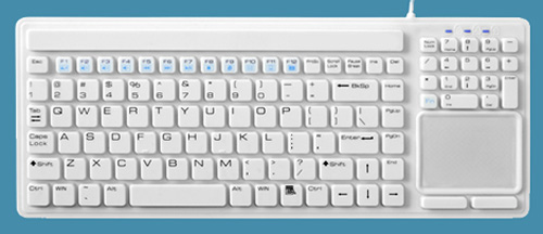 Water Resistant Quiet Keyboard with Touchpad