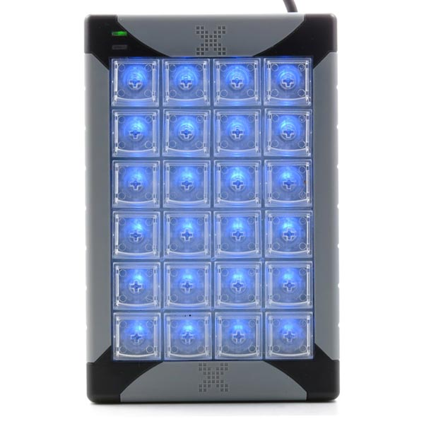 X-Key Plus Blue Backlit Programmable Keypad with 24 keys