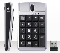 Side view Wireless Keypad with Optical Mouse