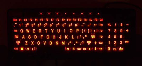 Compact Large Print Illuminated Multimedia keyboard