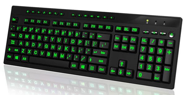 Large print illuminated computer keyboard for Backlit keyboard large letters
