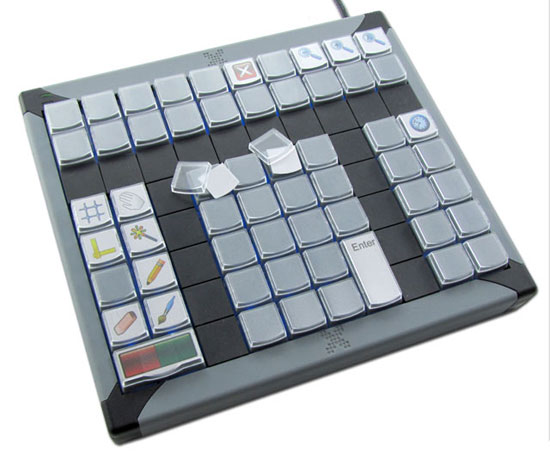 Side view Slim Touchpad Multimedia keyboard