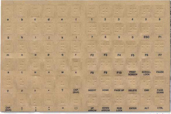 Braille Keytop Computer Key Labels
